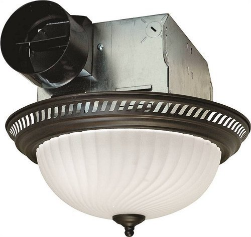 Oil Rubbed Bronze Ventilation Fan - Air King DRLC701 Round Bath Fan with Light, Bronze