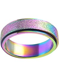 Women's & Men's Stainless Steel 5 Colors Sandblast Finish Lucky Worry Ring Band 6MM/8MM
