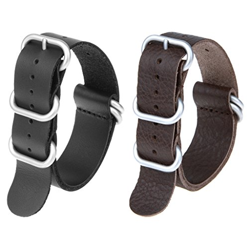 2pc 22mm Nato Ss Leather Strap Black , Brown Leather Replacement Watch Strap with silver clasp