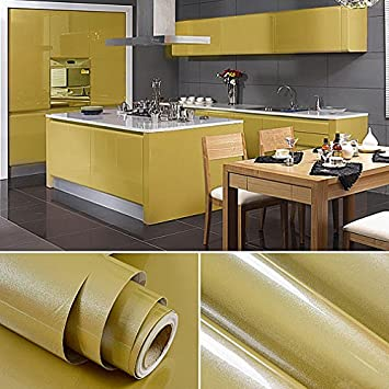KINLO Möbelfolie Braun 61x500cm Aus Hochwertigem PVC Tapeten Küche  Klebefolie Aufkleber Küchenschränke Wasserfest Aufkleber Für Schrank