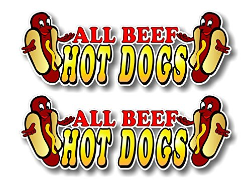 "2 All Beef Hot Dogs 6"" Decals for Concession Trailer or Hot Dog Cart Menu Board Vinyl Stickers ((2) 2""x 6"")"
