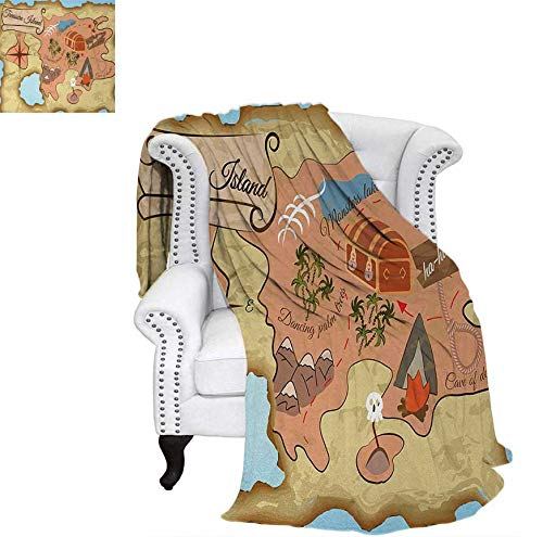 Lightweight Blanket Ancient Treasure Map of Tropical Beach with Chest Key Mystical World Theme Digital Printing Blanket 62