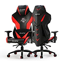 Gaming Chair, AutoFull Video Game Chair, Breathable Mesh Back Reclining Gaming Chair for Adults With Pillow and Lumbar Cushion (PU, Black-3)