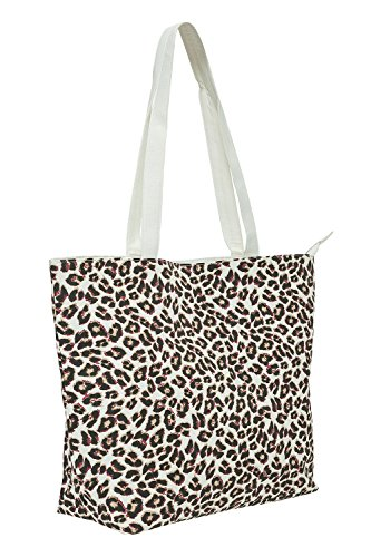 Vero Moda Damen Canvas Shopper Tasche mit Animal-Print Strand Tasche Snow White