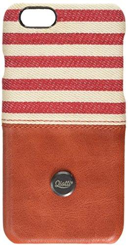QIOTTI Q. à Denim snapcase en cuir véritable pour iPhone 6/6S–Ligne Rouge