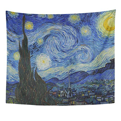 Semtomn Tapestry Artwork Wall Hanging Vintage Starry Night by Vincent Van Public Domain Oil 50x60 Inches Tapestries Mattress Tablecloth Curtain Home Decor Print