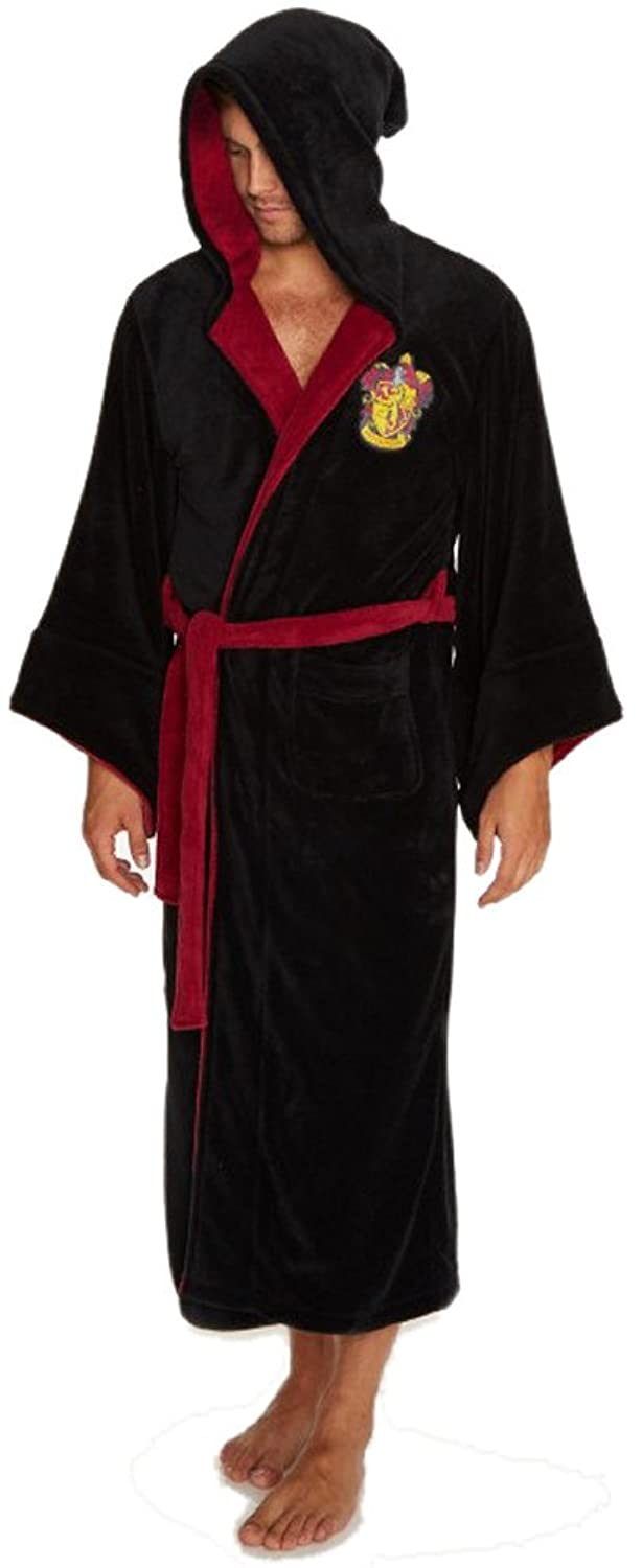 Official Mens Black Harry Potter Wizard Dressing Gown, Robe with ...
