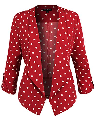 Michel Womens Casual Dot Print Blazer Work Office Lightweight Thin Stretchy Chiffon Open Front Jacket RED Large