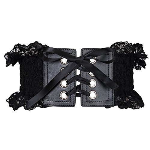 Colorful House Women's Stylish Buckle Elastic Wide Corset Waistband Belt with Ribbon (One Size, Black Lace) Buckle Wide Corset