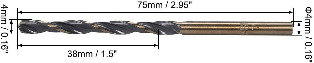 Helical drill bits with reduced stem 4 mm High speed steel 4341 with 4 mm shank 5 pieces