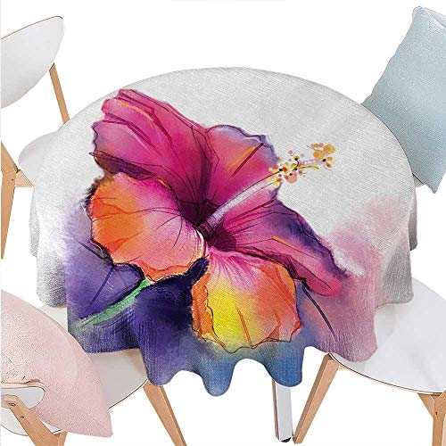 cobeDecor Flower Stain Resistant Wrinkle Round Tablecloth Hibiscus Flower in Pastel Abstract Colorful Romantic Petal Pattern Artwork Print Round Wrinkle Resistant Tablecloth D50 Multicolor -
