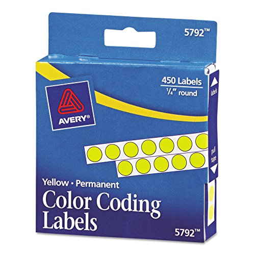 Avery 05792 Permanent Self-Adhesive Round Color-Coding Labels, 1/4