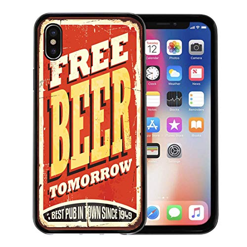 - Emvency Phone Case for Apple iPhone Xs case,Retro Free Beer Tomorrow Vintage Tin Sign on Old Worn Red Pub Tavern Bar Funny for iPhone X Case,Rubber Border Protective Case,Black