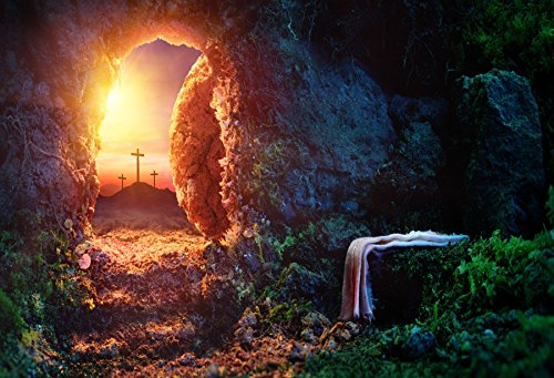 OFILA Empty Tomb Backdrop 5x3ft Crucifixion Resurrection of Jesus Christ Holy Lights Sunrise Religious Belief Burial Background Sepulcher Lord Pray Sunday Bibble Christianity Photos Studio Props