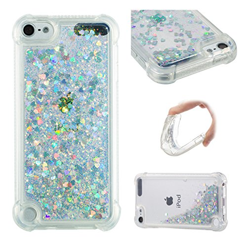 oft TPU [Air Cushion Design] Flowing Liquid Floating Luxury Bling Glitter Sparkle Case Cover for Apple iPod touch 5/6th Generation (Silver) ()