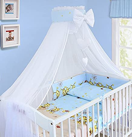 BABY CANOPY DRAPE MOSQUITO NET WITH HOLDER TO FIT COT & COT BED (SAFARI BLUE) Babymam