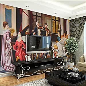 Custom 3D Wallpaper Pure Hand Painted European Court Oil Painting ...