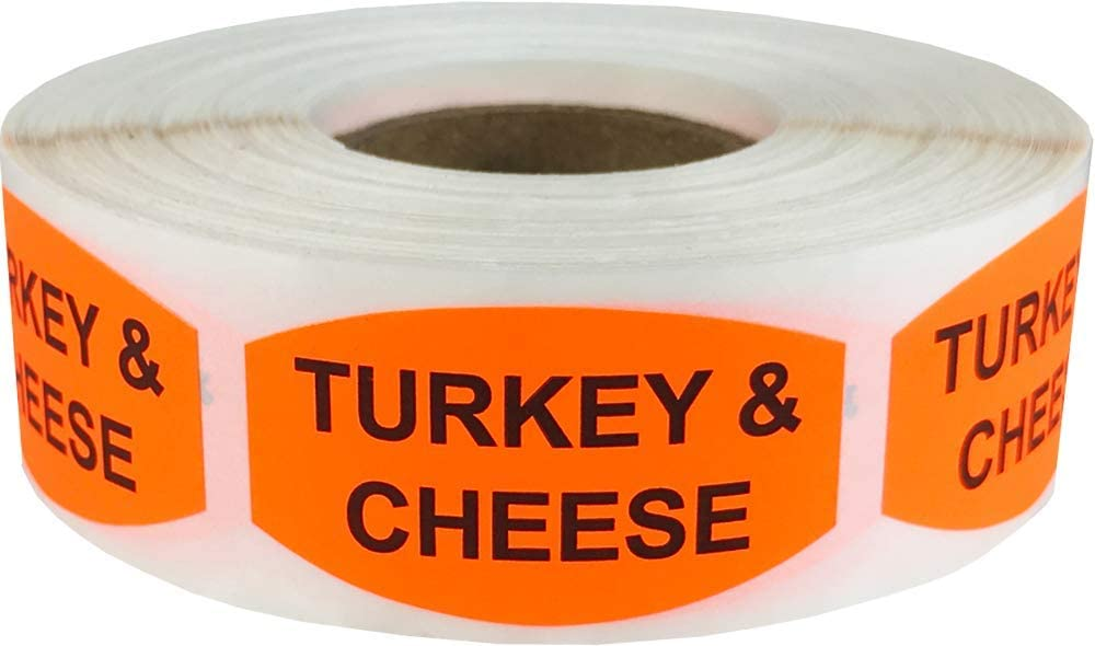Turkey and Cheese Grocery Store Food Labels .75 x 1.375 Inch Oval Shape 500 Total Adhesive Stickers