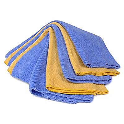 """Buffalo Industries (65002) 16"""" x 16"""" Microfiber Cleaning Cloth, Blue/Yellow (Pack of 5): Automotive"""