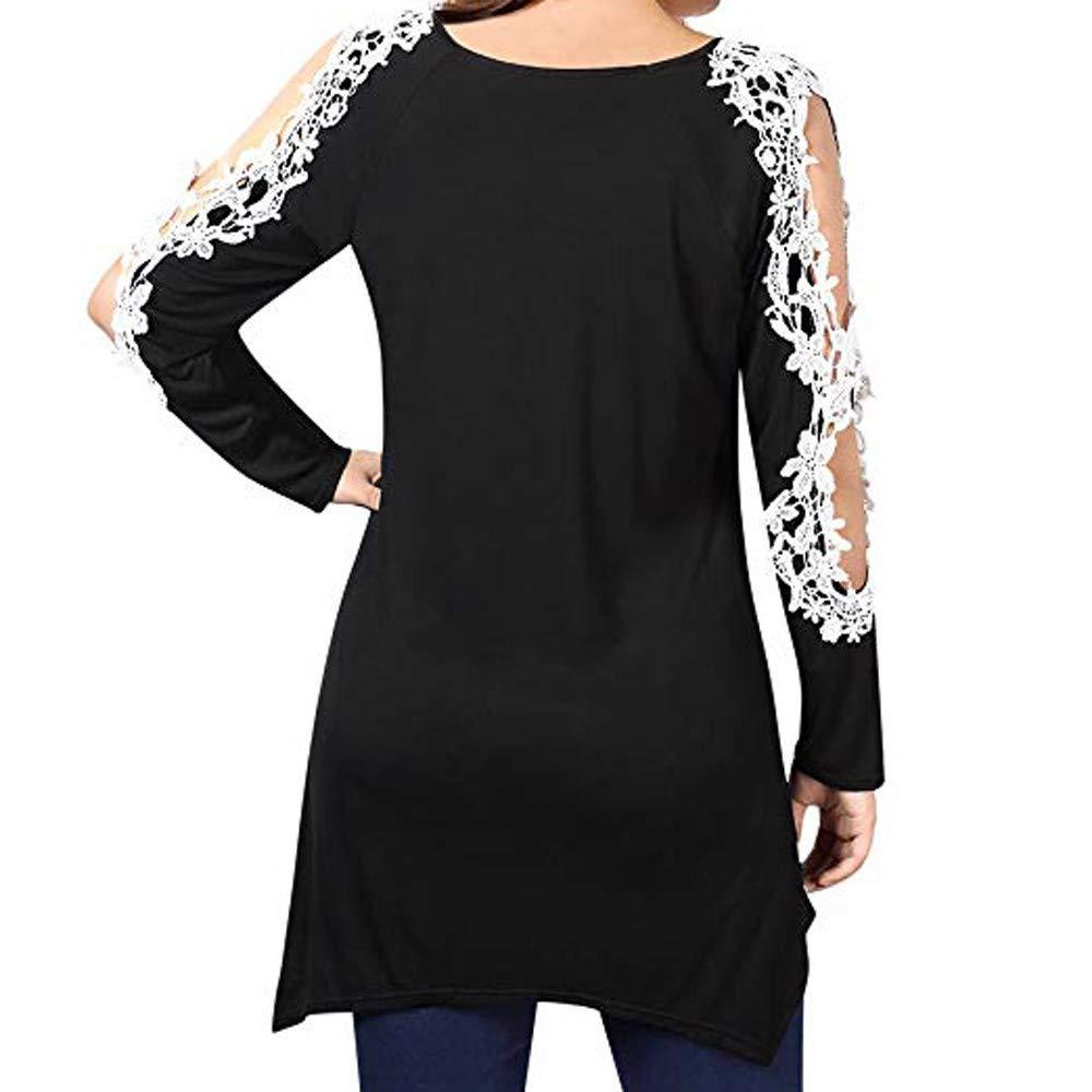 JiaMeng Camisas Mujer, Camisa Larga de la Blusa Larga del Remiendo del Cordšn del Remiendo del Tama?o Grande Manga Blusas: Amazon.es: Ropa y accesorios