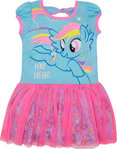 My Little Pony Girls' Tulle Dress Rainbow Dash, Blue and Pink (Little Pony Dress)