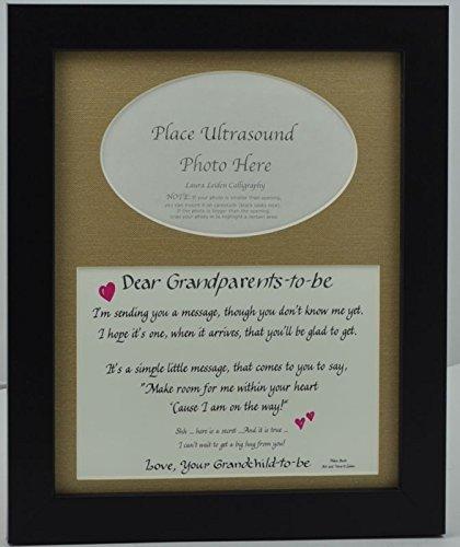 """Grandparents to Be"" Ultrasound Picture Frame with Burlap Mat (8""x10"")"