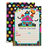 "*** Bigger... Better... and Best of All... Cuter. Presenting Colorful Haunted House Birthday Party Invitations Designed by a Mom for Moms. Set of 10 Fill-In Postcards (5""x7"" Each) Comes with 10 White Envelopes *** *2-sided printing for that a..."