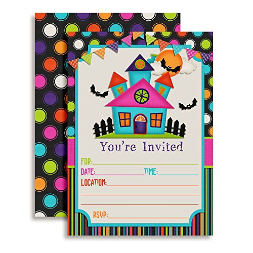Colorful Haunted House Halloween Party Invitations, Ten 5