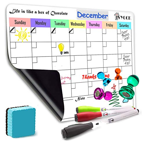 Magnetic Dry Erase Monthly Calendar Planner Sheet Office Chalkboard for Kitchen Refrigerator 17