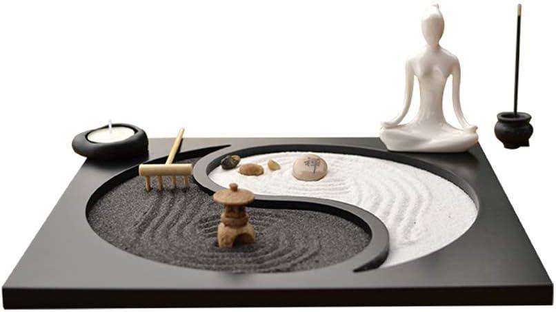 Buddha Zen Garden de mesa, soporte de budismo, arena blanca y piedras decorativas