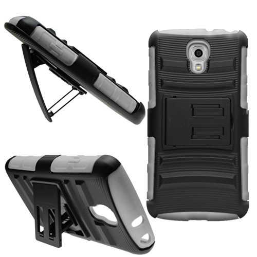 CoverON Hybrid Heavy Duty Case with Hard Kickstand Belt Clip Holster for LG Volt F90 - Gray / Black