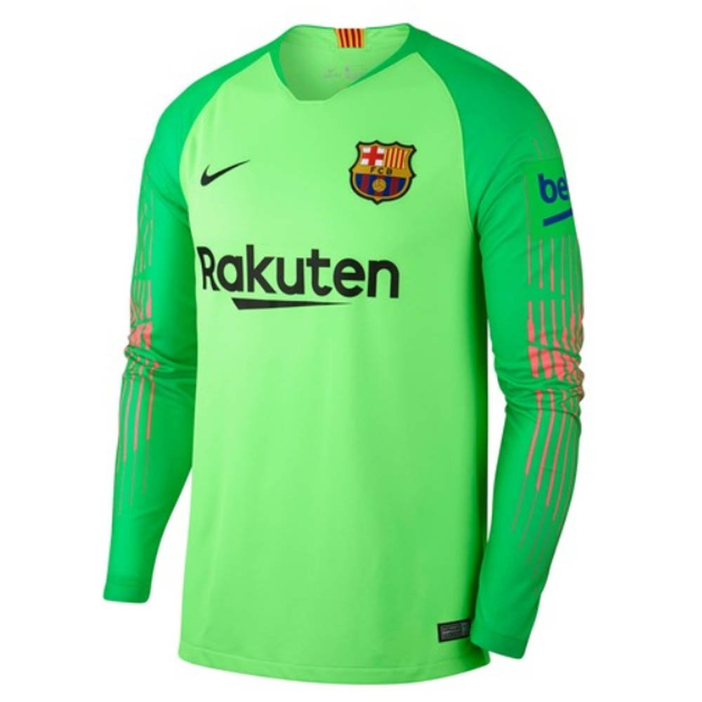 Amazon.com   Nike 2018-2019 Barcelona Away Goalkeeper Football Soccer T- Shirt Jersey (Green)   Sports   Outdoors fcdd6cf3fe081
