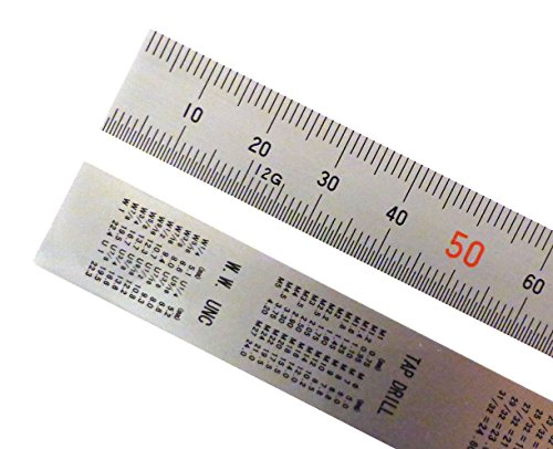Shinwa 150 mm Rigid (15 mm x 0.5 mm) Zero Glare Satin Chrome Stainless Steel Machinist Engineer Ruler/Rule with Graduations in mm and .5mm Model 13005