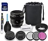 Canon EF 50mm f/1.4 USM Lens + Rubber Lens Hood + Lens Cap + Lens Bag + 3 PC Filter Kit + Lens Pen + Dust Blower + Cleaning Cloth