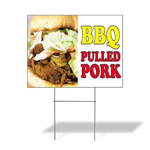 Plastic Weatherproof Yard Sign BBQ Pulled Pork #2 Pulled Pork Barbeque Hamburger BBQ Blue Pulled Pork Barbeque Hamburger for Sale Sign Multiple Quantities Available 18inx12in One Side Print One Sign