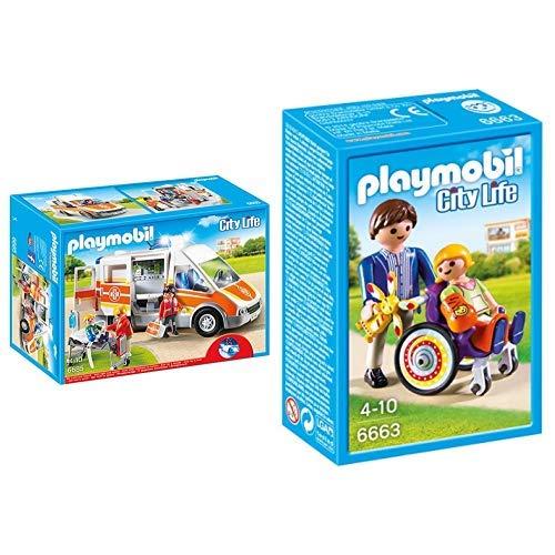 Playmobil 6685 - Krankenwagen mit Licht und Sound &  6663 - Kind im Rollstuhl