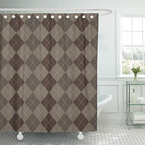 Breezat Shower Curtain Beige Check Argyle Brown Cross Dashed Diamond Geometric Waterproof Polyester Fabric 72 x 78 Inches Set with Hooks ()