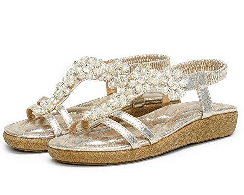 Guiran Sandale Femme Strass Chaussure Plage Sandales Flip Flops Sandales Chaussures Plates Or kTsxqdJ