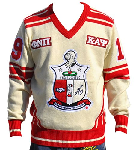 Big Boy Headgear Kappa Alpha Psi Fraternity Men's Wool V-neck Sweater Large Cream Color Alpha Kappa Alpha Sweater