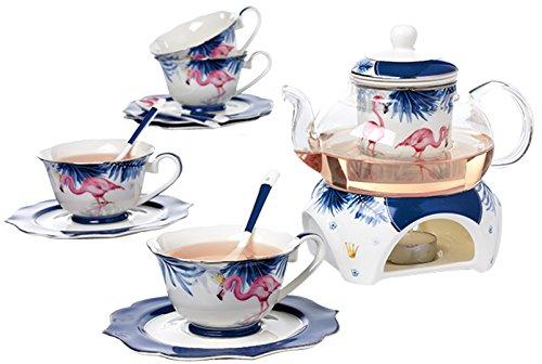 (Jusalpha Fine Bone China Flamingo Series Teacup Saucer Spoon Set with Teapot Warmer & Filter, 16 pcs in 1 set (FL-Glass pot set)