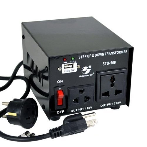 Goldsource 500W Step Up & Step Down Voltage Transformer Converter, STU-500 Heavy Duty Continuous AC 110-120V to 220-240V Converter with US Standard & Universal AC Outlets and DC 5V USB Port, 500 Watt ()