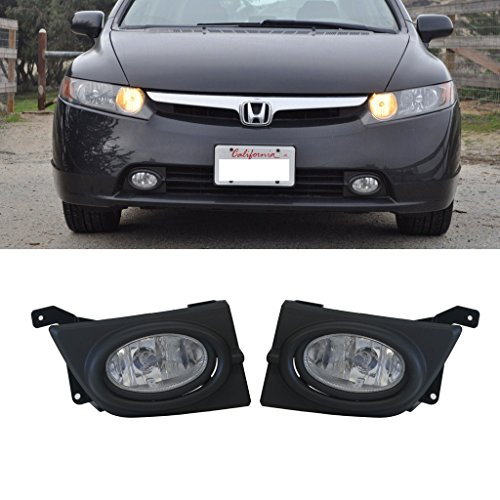 VioGi 2pcs JDM Clear Lens Fog Lights w/ Bulbs+Switch+Wiring Harness & Necessary Installation Kit For 06-08 Honda Civic 4-Door Sedan