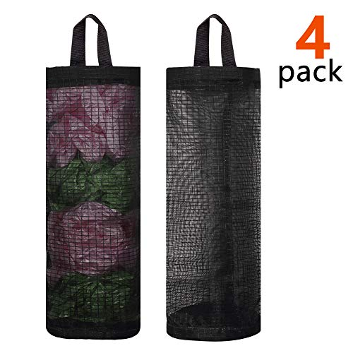Bag Holder for Plastic Bags, 4 Pcs Polyester Grocery Bag Holder Plastic Dispenser Foldable Breathable Washable Hanging Mesh Garbage Bag Organizer for Kitchen Plastic Bag Storage (Black)