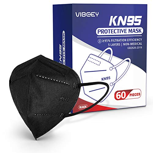 KN95 Face Mask, 60pcs Vibeey Individually Wrapped Cup Dust Mask Included on FDA EUA List, 5-Ply Layer Filter, Efficiency≥95%, Against PM2.5 Dust Disposable Respirator KN95 Face Masks Black