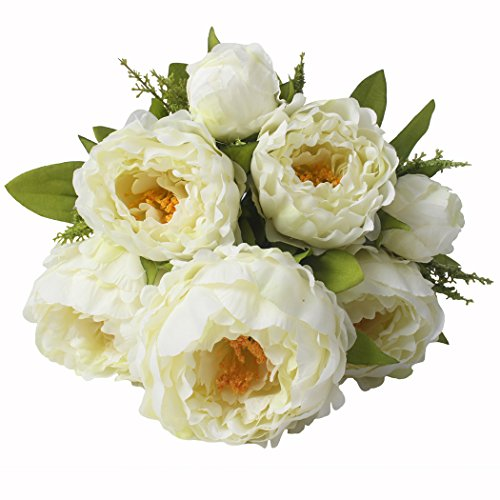 JAROWN 7 Heads Artificial Flowers Peony White Silk Faux Bouquet Leaves for Wedding Home Office Decoration (Milk White) (White Silk Flowers Small)