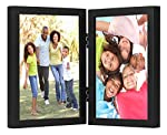 Americanflat Hinged Picture Frame with Glass Front - Made to Display Two 4x6 or 5x7 Inch Pictures, Stands Vertically on Desktop or Table Top