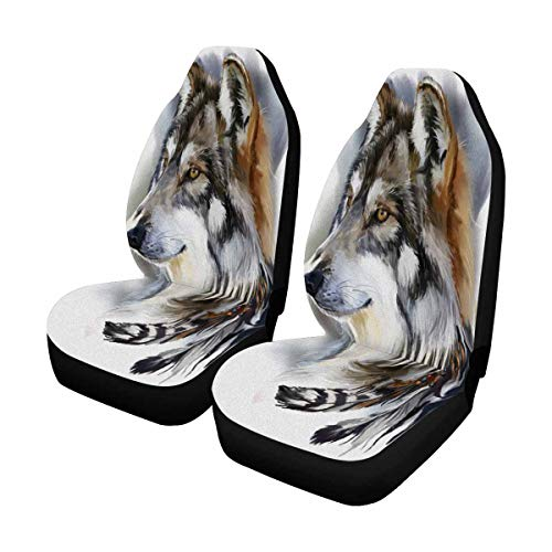 (INTERESTPRINT Wolf Portrait Wild Animal Front Seat Covers 2 pc, Car Seat Covers Front Seats Only Universal Fit)