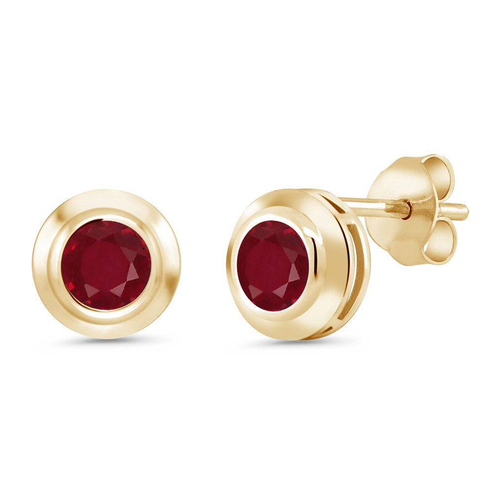 Gem Stone King 1.10 Ct Round 5mm Red Ruby 18K Yellow gold Plated Silver Stud Earrings