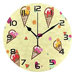 Dozili Summer Ice Cream Watermelon Decorative Wooden Round Wall Clock Arabic Numerals Design Non Ticking Wall Clock Large for Bedrooms, Living Room, Bathroom