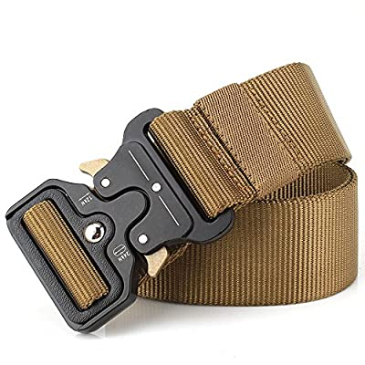 "Tactical Belt, 1.5"" Heavy Duty Waist Belt, Quick-Release Military Style Nylon Webbing Riggers Belt with Metal Buckle"